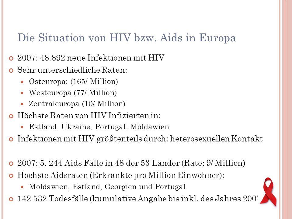 Die Situation von HIV bzw. Aids in Europa 2007: 48.892 neue Infektionen mit HIV Sehr unterschiedliche Raten: Osteuropa: (165/ Million) Westeuropa (77/