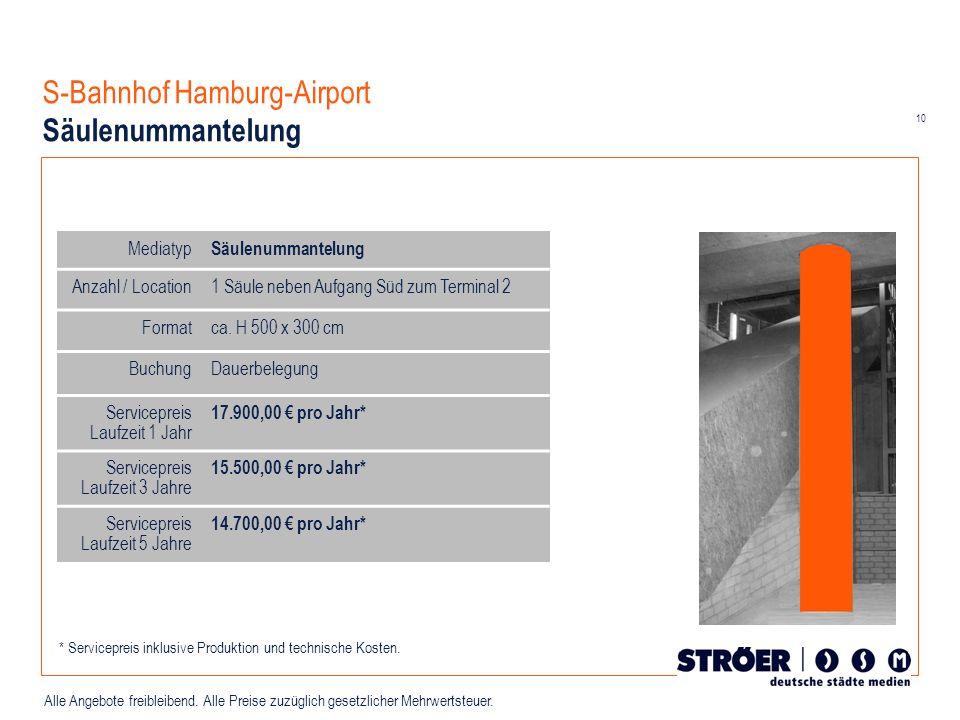 10 Alle Angebote freibleibend. Alle Preise zuzüglich gesetzlicher Mehrwertsteuer. S-Bahnhof Hamburg-Airport Säulenummantelung Mediatyp Säulenummantelu