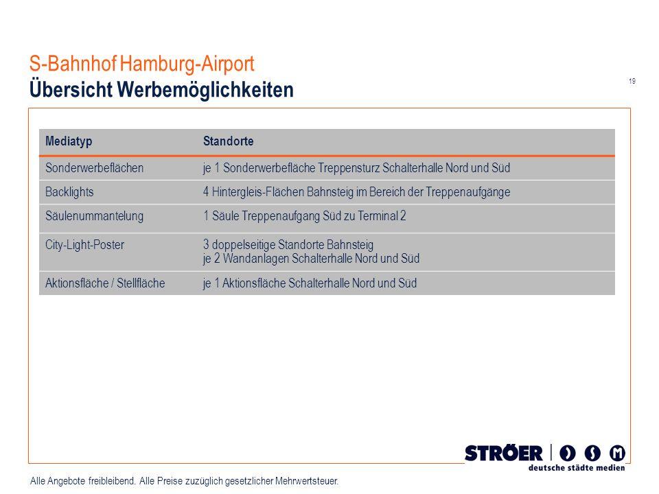 19 Alle Angebote freibleibend. Alle Preise zuzüglich gesetzlicher Mehrwertsteuer. S-Bahnhof Hamburg-Airport Übersicht Werbemöglichkeiten MediatypStand