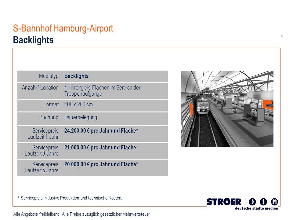 8 Alle Angebote freibleibend. Alle Preise zuzüglich gesetzlicher Mehrwertsteuer. S-Bahnhof Hamburg-Airport Backlights Mediatyp Backlights Anzahl / Loc