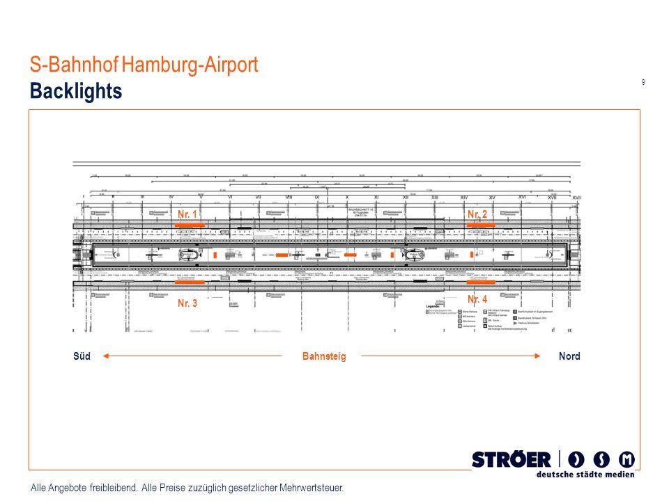 9 Alle Angebote freibleibend. Alle Preise zuzüglich gesetzlicher Mehrwertsteuer. S-Bahnhof Hamburg-Airport Backlights Nr. 1Nr. 2 Nr. 3 Nr. 4 Bahnsteig