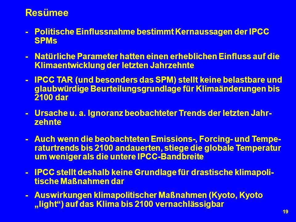 19 Resümee - IPCC TAR (und besonders das SPM) stellt keine belastbare und glaubwürdige Beurteilungsgrundlage für Klimaänderungen bis 2100 dar - Ursache u.