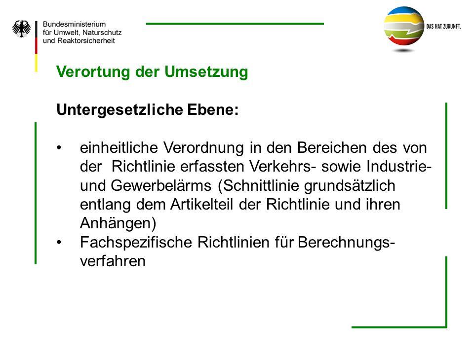 Verortung der Umsetzung Untergesetzliche Ebene: einheitliche Verordnung in den Bereichen des von der Richtlinie erfassten Verkehrs- sowie Industrie- u