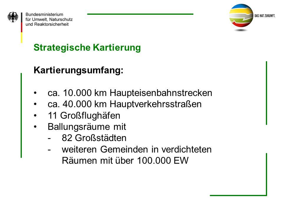Strategische Kartierung Kartierungsumfang: ca. 10.000 km Haupteisenbahnstrecken ca. 40.000 km Hauptverkehrsstraßen 11 Großflughäfen Ballungsräume mit