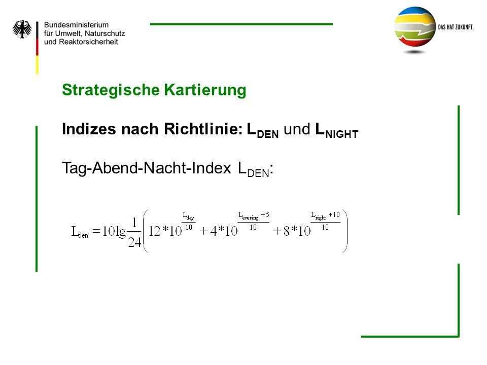 Strategische Kartierung Indizes nach Richtlinie: L DEN und L NIGHT Tag-Abend-Nacht-Index L DEN :