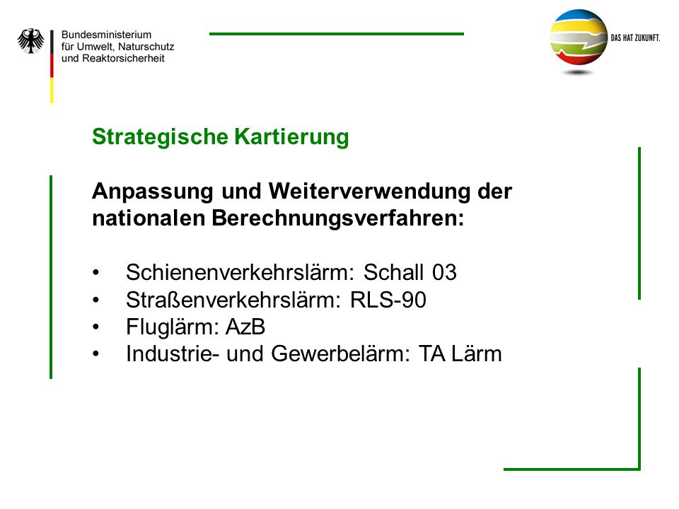 Strategische Kartierung Anpassung und Weiterverwendung der nationalen Berechnungsverfahren: Schienenverkehrslärm: Schall 03 Straßenverkehrslärm: RLS-9