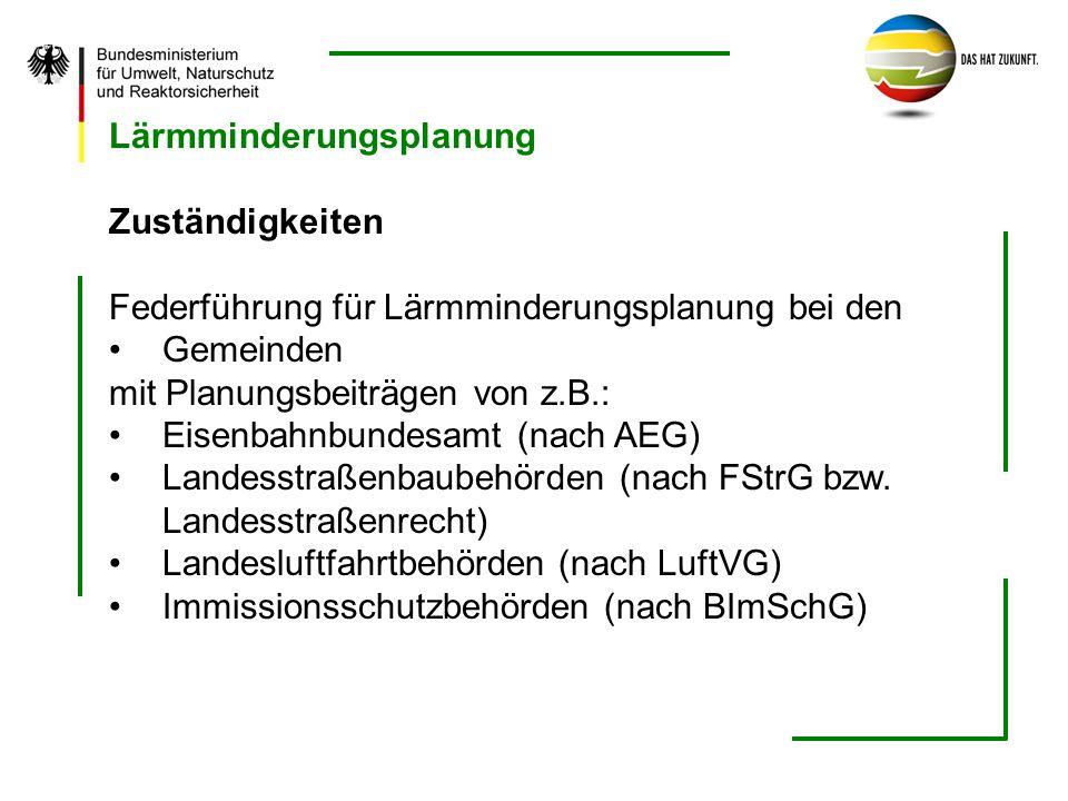 Lärmminderungsplanung Zuständigkeiten Federführung für Lärmminderungsplanung bei den Gemeinden mit Planungsbeiträgen von z.B.: Eisenbahnbundesamt (nac