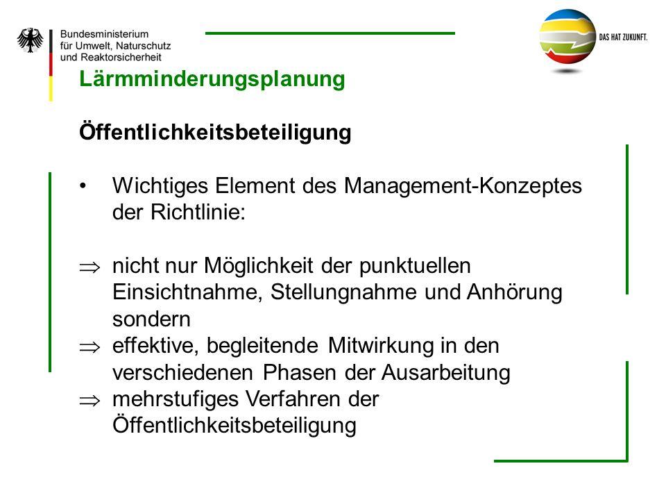 Lärmminderungsplanung Öffentlichkeitsbeteiligung Wichtiges Element des Management-Konzeptes der Richtlinie: nicht nur Möglichkeit der punktuellen Eins