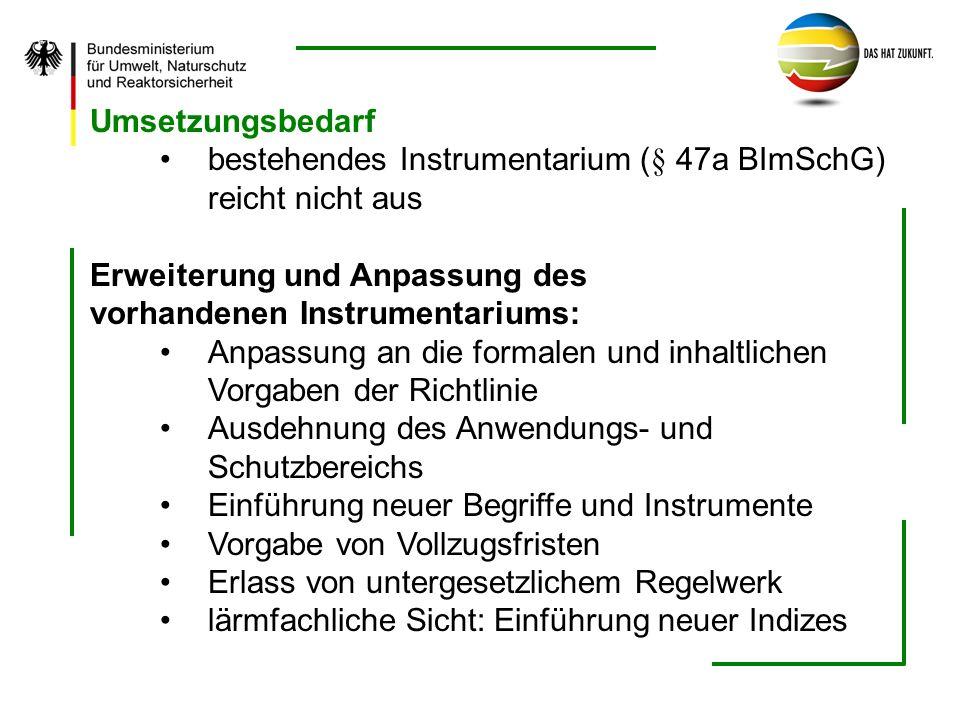 Umsetzungsbedarf bestehendes Instrumentarium (§ 47a BImSchG) reicht nicht aus Erweiterung und Anpassung des vorhandenen Instrumentariums: Anpassung an