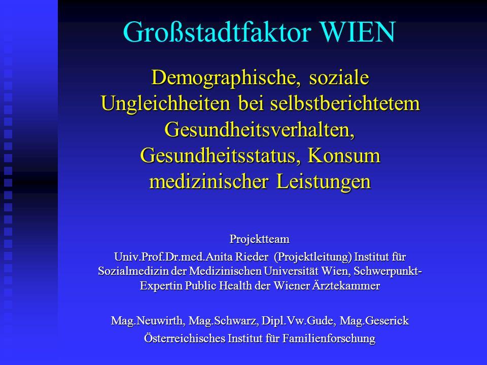 Großstadtfaktor WIEN Demographische, soziale Ungleichheiten bei selbstberichtetem Gesundheitsverhalten, Gesundheitsstatus, Konsum medizinischer Leistu