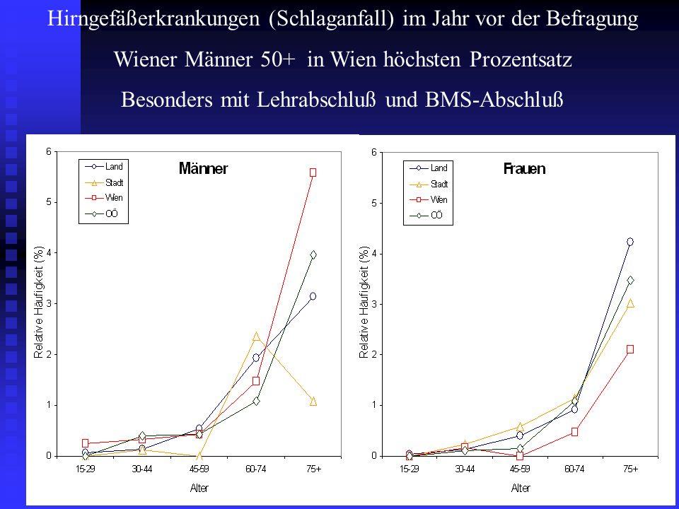 Hirngefäßerkrankungen (Schlaganfall) im Jahr vor der Befragung Wiener Männer 50+ in Wien höchsten Prozentsatz Besonders mit Lehrabschluß und BMS-Absch
