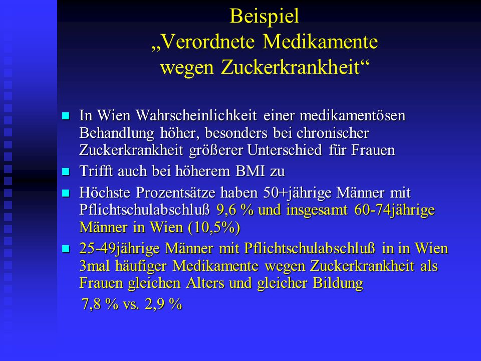 Beispiel Verordnete Medikamente wegen Zuckerkrankheit In Wien Wahrscheinlichkeit einer medikamentösen Behandlung höher, besonders bei chronischer Zuck
