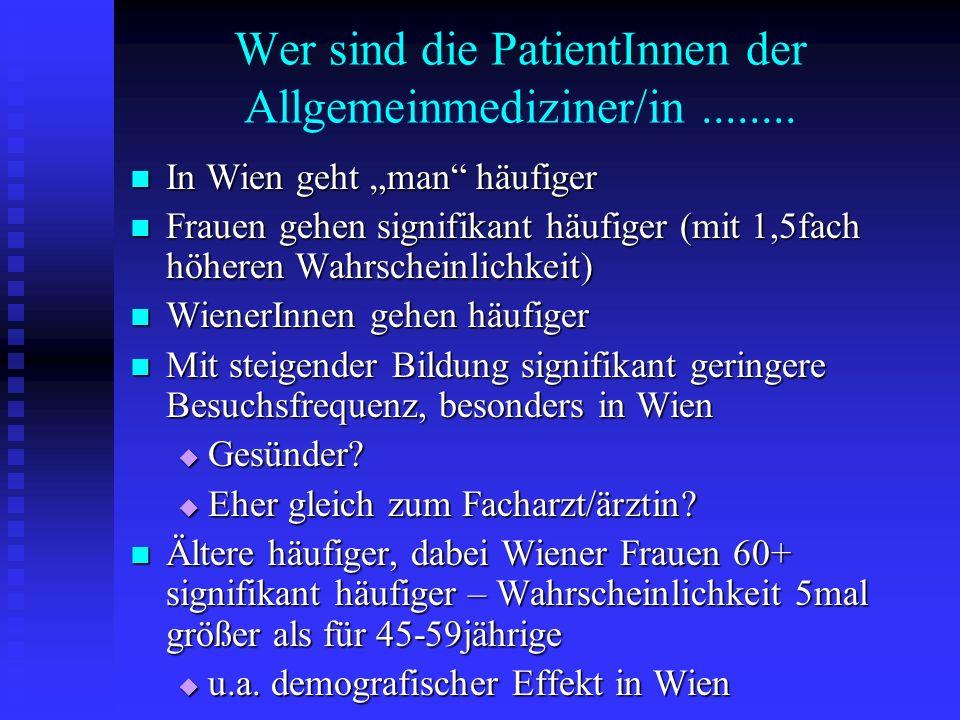 Wer sind die PatientInnen der Allgemeinmediziner/in........ In Wien geht man häufiger In Wien geht man häufiger Frauen gehen signifikant häufiger (mit