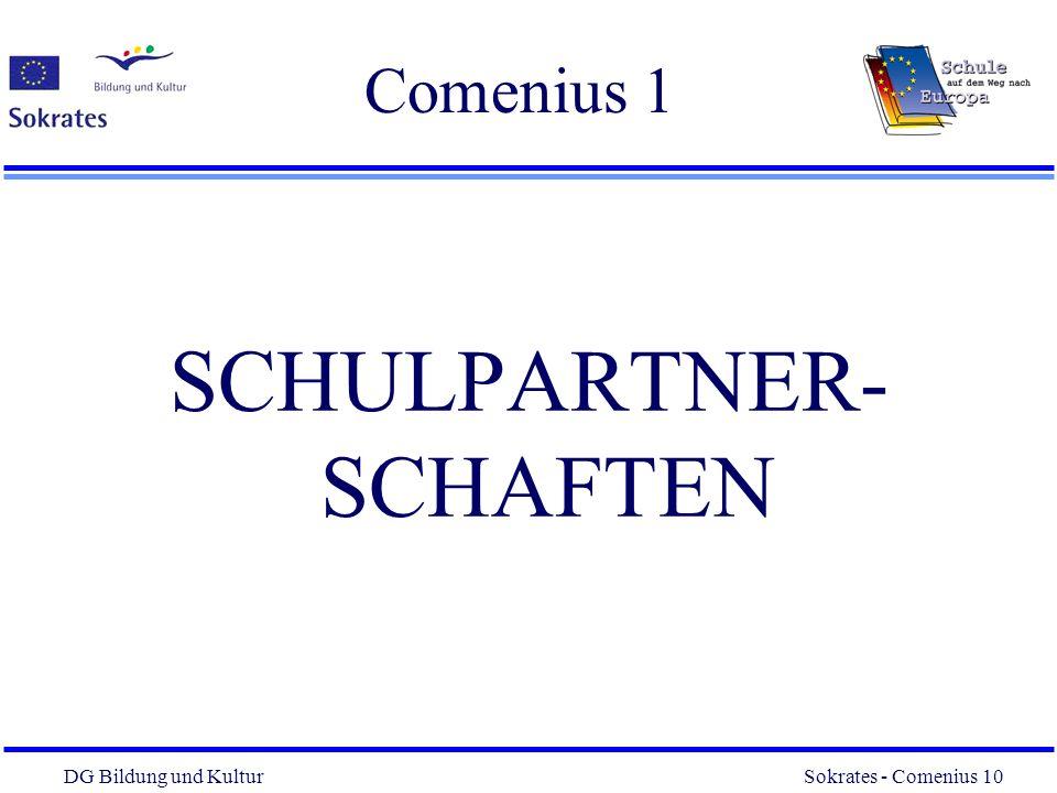 DG Bildung und Kultur Sokrates - Comenius 10 10 Comenius 1 SCHULPARTNER- SCHAFTEN