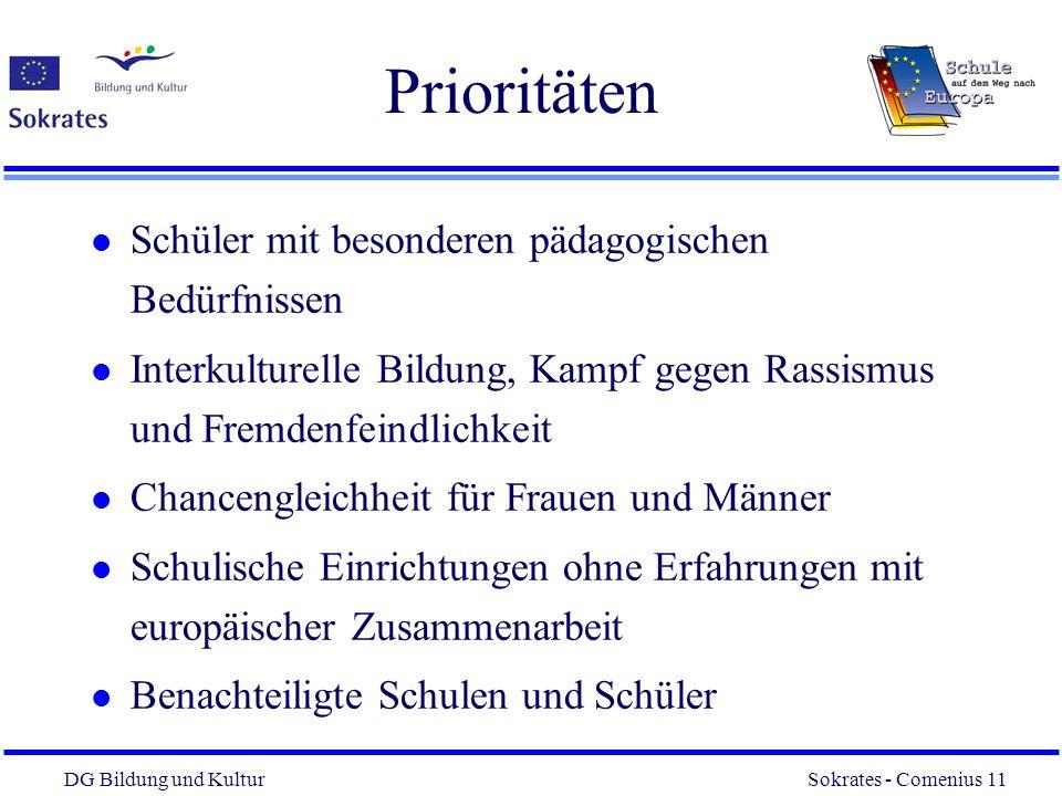 DG Bildung und Kultur Sokrates - Comenius 11 11 Prioritäten l Schüler mit besonderen pädagogischen Bedürfnissen l Interkulturelle Bildung, Kampf gegen