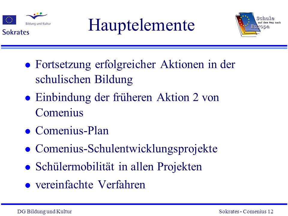 DG Bildung und Kultur Sokrates - Comenius 12 12 Hauptelemente l Fortsetzung erfolgreicher Aktionen in der schulischen Bildung l Einbindung der frühere