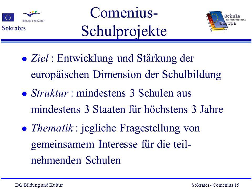 DG Bildung und Kultur Sokrates - Comenius 15 15 Comenius- Schulprojekte l Ziel : Entwicklung und Stärkung der europäischen Dimension der Schulbildung