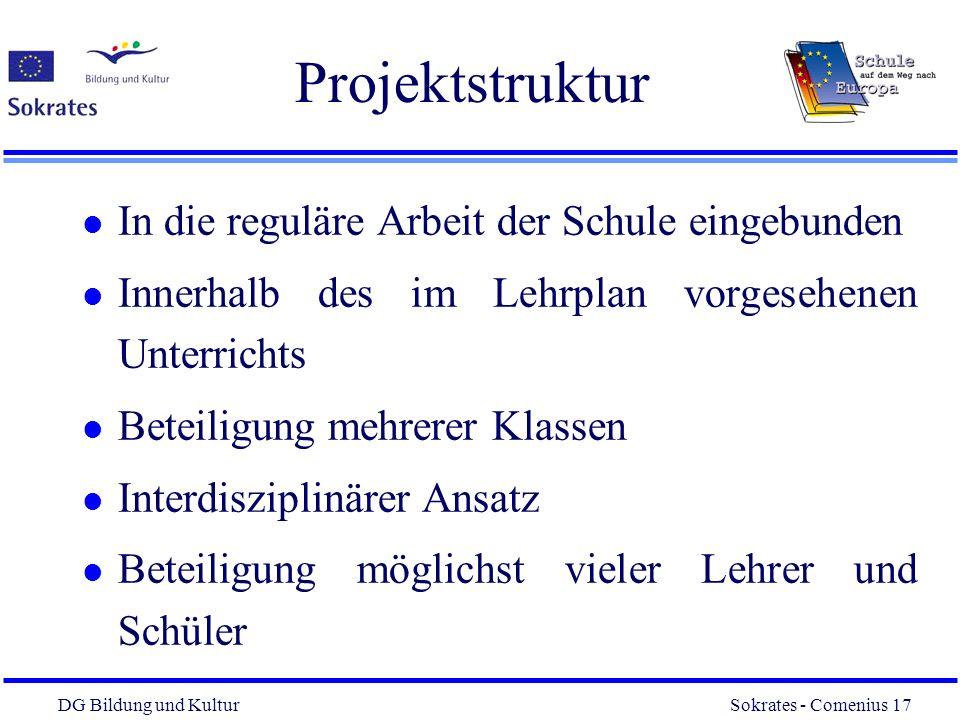DG Bildung und Kultur Sokrates - Comenius 17 17 Projektstruktur l In die reguläre Arbeit der Schule eingebunden l Innerhalb des im Lehrplan vorgesehen
