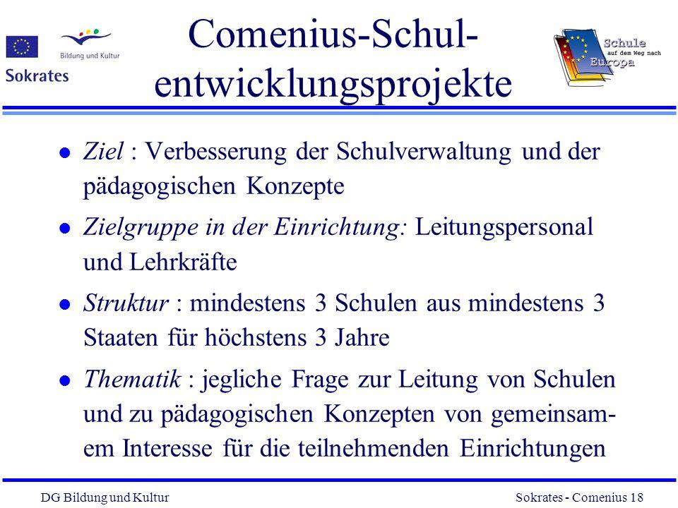 DG Bildung und Kultur Sokrates - Comenius 18 18 Comenius-Schul- entwicklungsprojekte l Ziel : Verbesserung der Schulverwaltung und der pädagogischen K