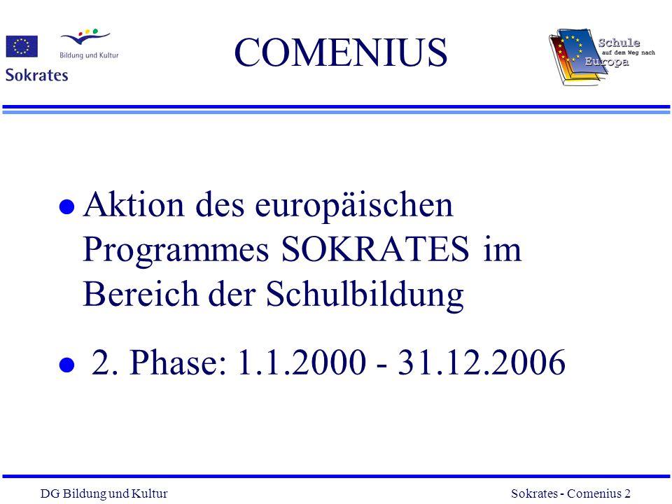 DG Bildung und Kultur Sokrates - Comenius 3 3 Teilnehmende Staaten l Die 15 Mitgliedstaaten der EU l EFTA-Staaten (Island, Lichtenst., Norwegen) l Assoziierte Staaten auf Basis bilateraler Teilnahmevereinbarungen: Mittel- und osteuropäische Staaten Zypern Malta (Türkei: Teilnahme mittelfristig vorgesehen)