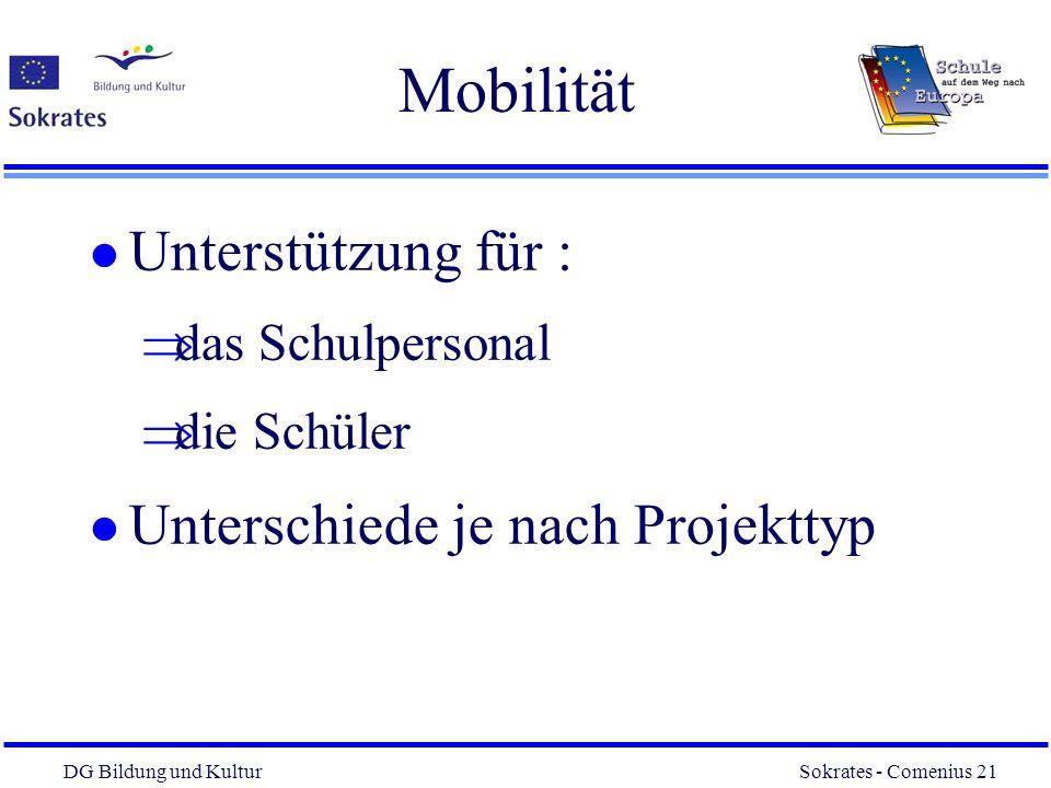 DG Bildung und Kultur Sokrates - Comenius 21 21 Mobilität l Unterstützung für : das Schulpersonal die Schüler l Unterschiede je nach Projekttyp