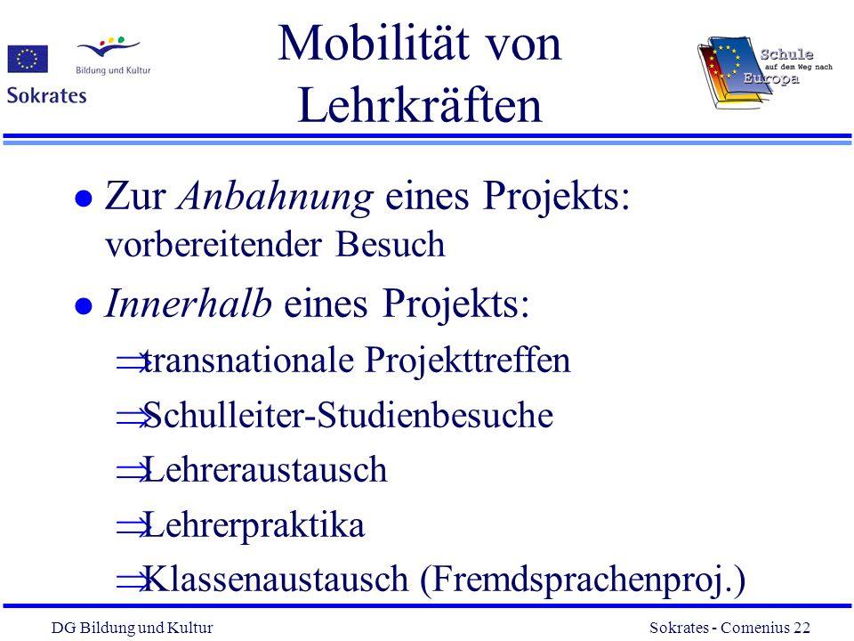 DG Bildung und Kultur Sokrates - Comenius 22 22 Mobilität von Lehrkräften l Zur Anbahnung eines Projekts: vorbereitender Besuch l Innerhalb eines Proj