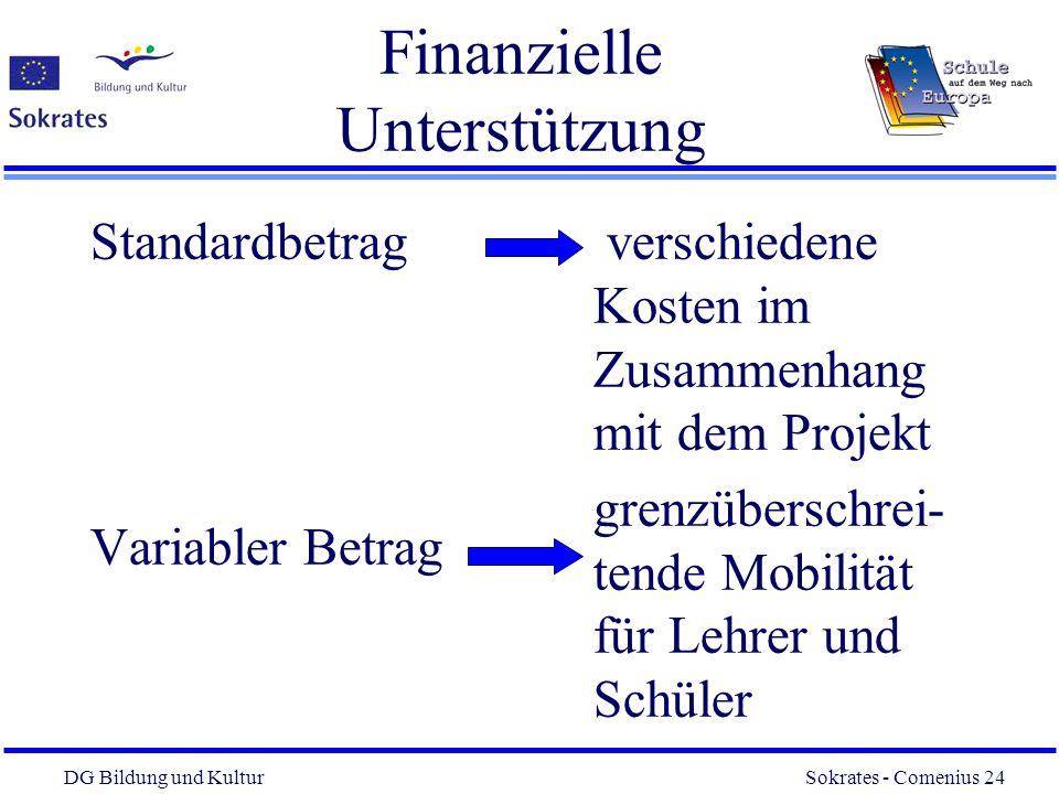 DG Bildung und Kultur Sokrates - Comenius 24 24 Finanzielle Unterstützung Standardbetrag Variabler Betrag verschiedene Kosten im Zusammenhang mit dem
