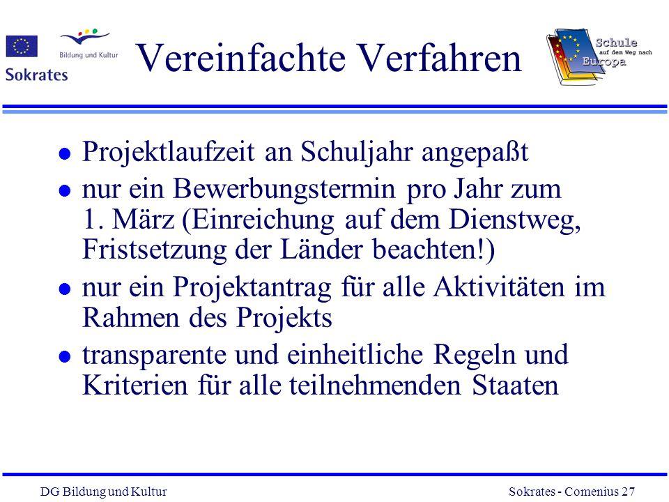 DG Bildung und Kultur Sokrates - Comenius 27 27 Vereinfachte Verfahren l Projektlaufzeit an Schuljahr angepaßt l nur ein Bewerbungstermin pro Jahr zum