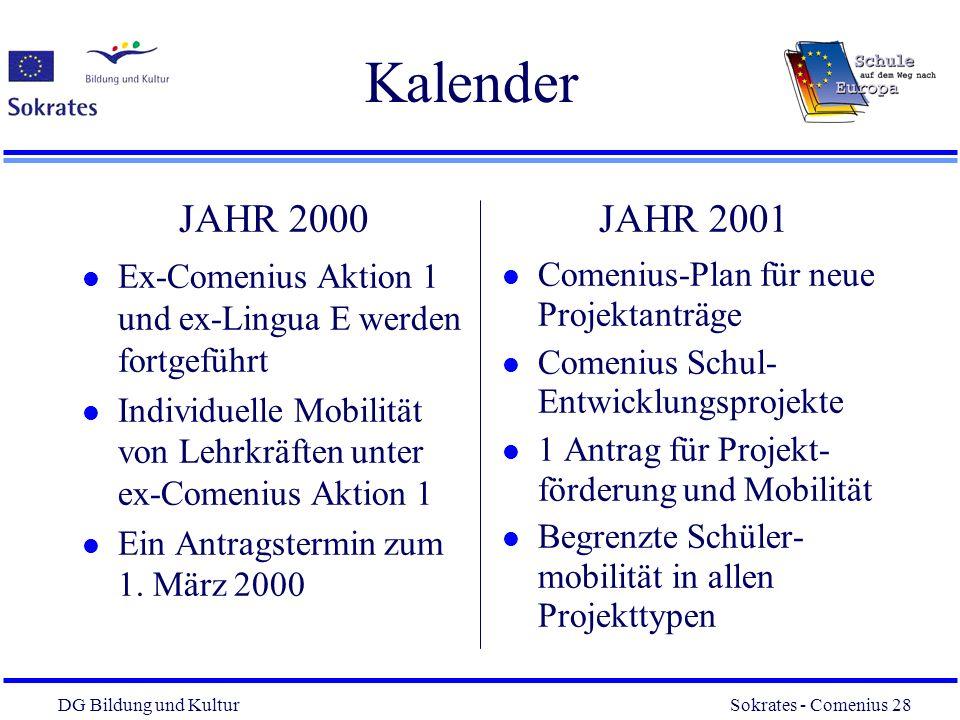 DG Bildung und Kultur Sokrates - Comenius 28 28 Kalender JAHR 2000 l Ex-Comenius Aktion 1 und ex-Lingua E werden fortgeführt l Individuelle Mobilität