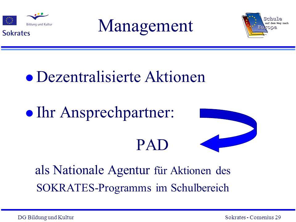 DG Bildung und Kultur Sokrates - Comenius 29 29 Management l Dezentralisierte Aktionen l Ihr Ansprechpartner: PAD als Nationale Agentur für Aktionen d