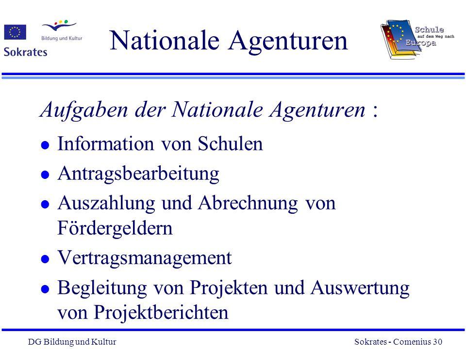 DG Bildung und Kultur Sokrates - Comenius 30 30 Nationale Agenturen Aufgaben der Nationale Agenturen : l Information von Schulen l Antragsbearbeitung