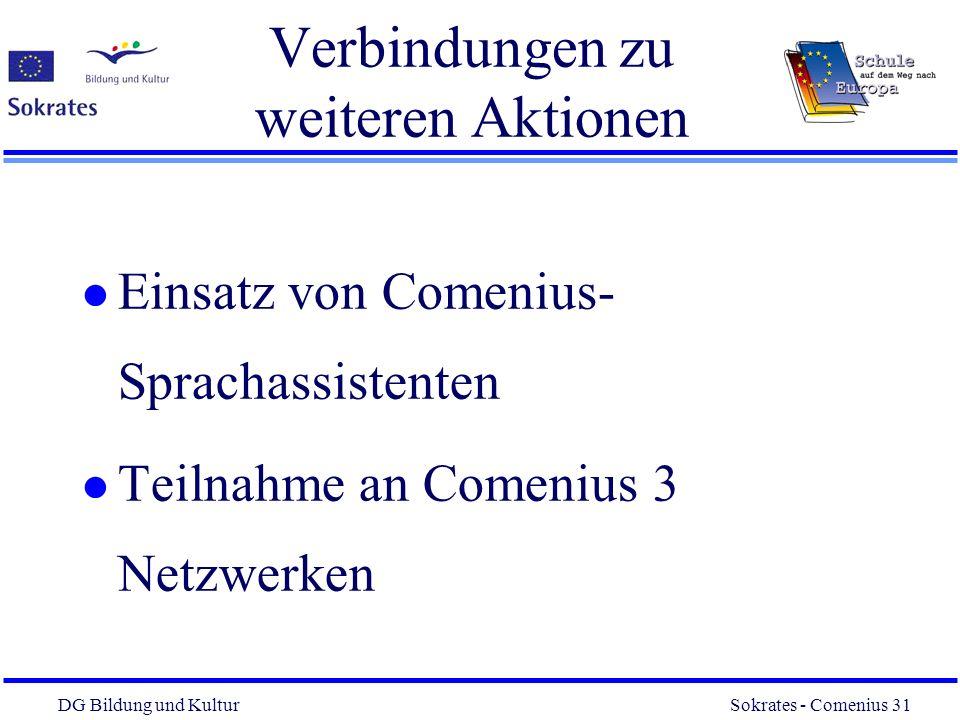 DG Bildung und Kultur Sokrates - Comenius 31 31 Verbindungen zu weiteren Aktionen l Einsatz von Comenius- Sprachassistenten l Teilnahme an Comenius 3