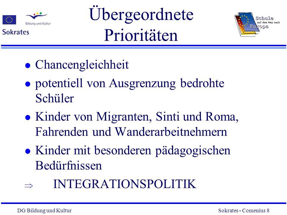 DG Bildung und Kultur Sokrates - Comenius 8 8 Übergeordnete Prioritäten l Chancengleichheit l potentiell von Ausgrenzung bedrohte Schüler l Kinder von