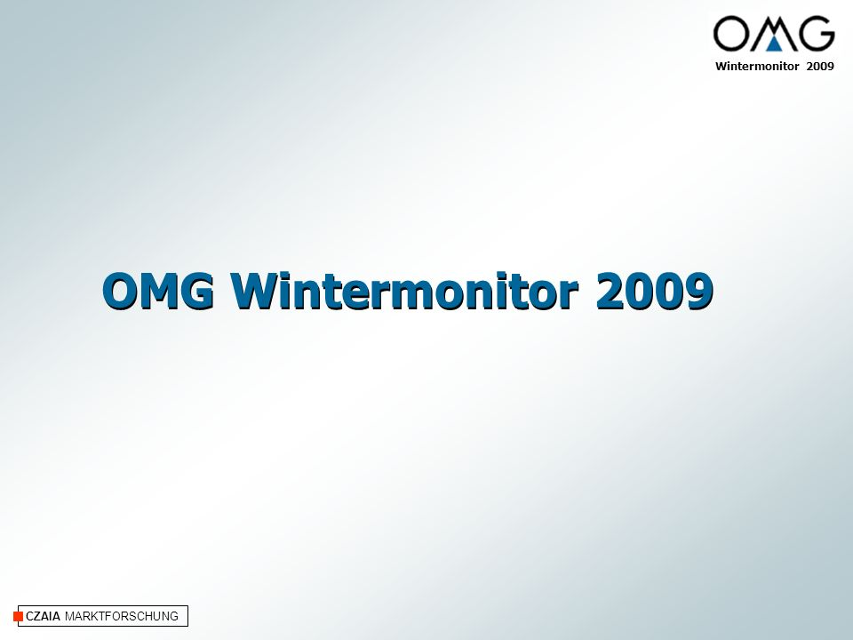 CZAIA MARKTFORSCHUNG Wintermonitor 2009 Untersuchungssteckbrief Online-Befragung an Hand eines teil- bzw.