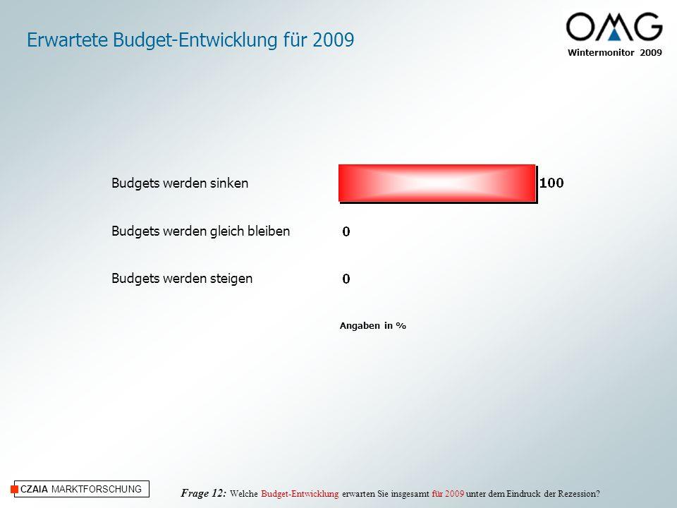 CZAIA MARKTFORSCHUNG Wintermonitor 2009 Erwartete Budget-Entwicklung für 2009 Frage 12: Welche Budget-Entwicklung erwarten Sie insgesamt für 2009 unte