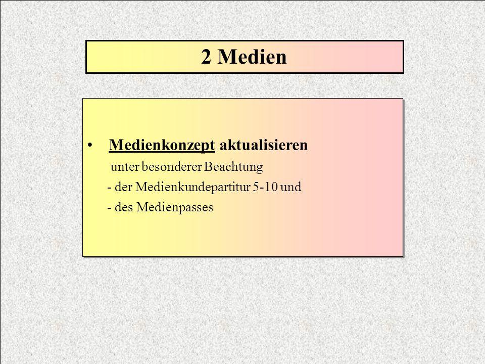 2 Medien Medienkonzept aktualisieren unter besonderer Beachtung - der Medienkundepartitur 5-10 und - des Medienpasses Medienkonzept aktualisieren unte