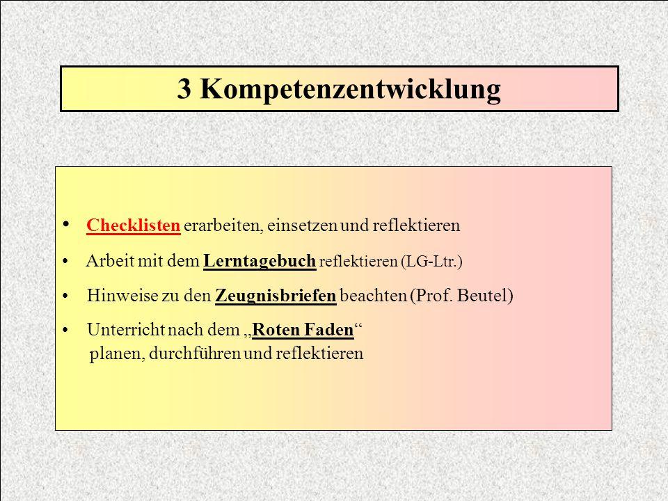 3 Kompetenzentwicklung Checklisten erarbeiten, einsetzen und reflektieren Arbeit mit dem Lerntagebuch reflektieren (LG-Ltr.) Hinweise zu den Zeugnisbr