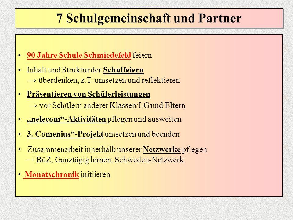 7 Schulgemeinschaft und Partner 90 Jahre Schule Schmiedefeld feiern Inhalt und Struktur der Schulfeiern überdenken, z.T. umsetzen und reflektieren Prä