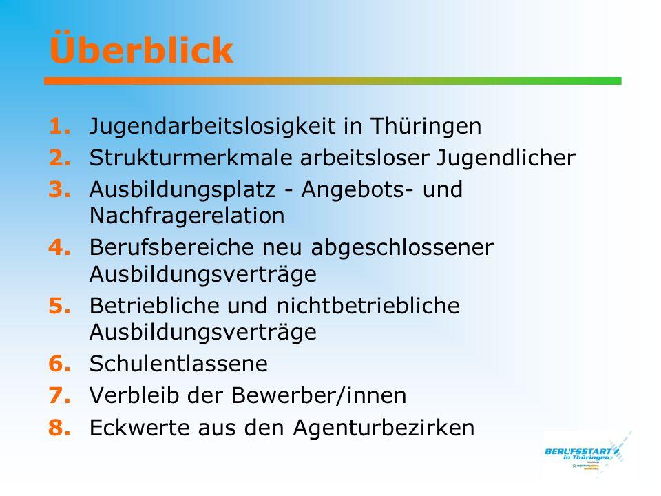 Überblick 1. Jugendarbeitslosigkeit in Thüringen 2. Strukturmerkmale arbeitsloser Jugendlicher 3. Ausbildungsplatz - Angebots- und Nachfragerelation 4