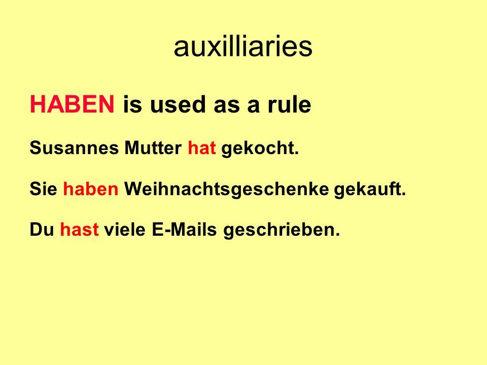 auxilliaries SEIN is used with verbs indicating a change of position gehen, fahren, laufen, fliegen … Susanne ist nach Deutschland geflogen.