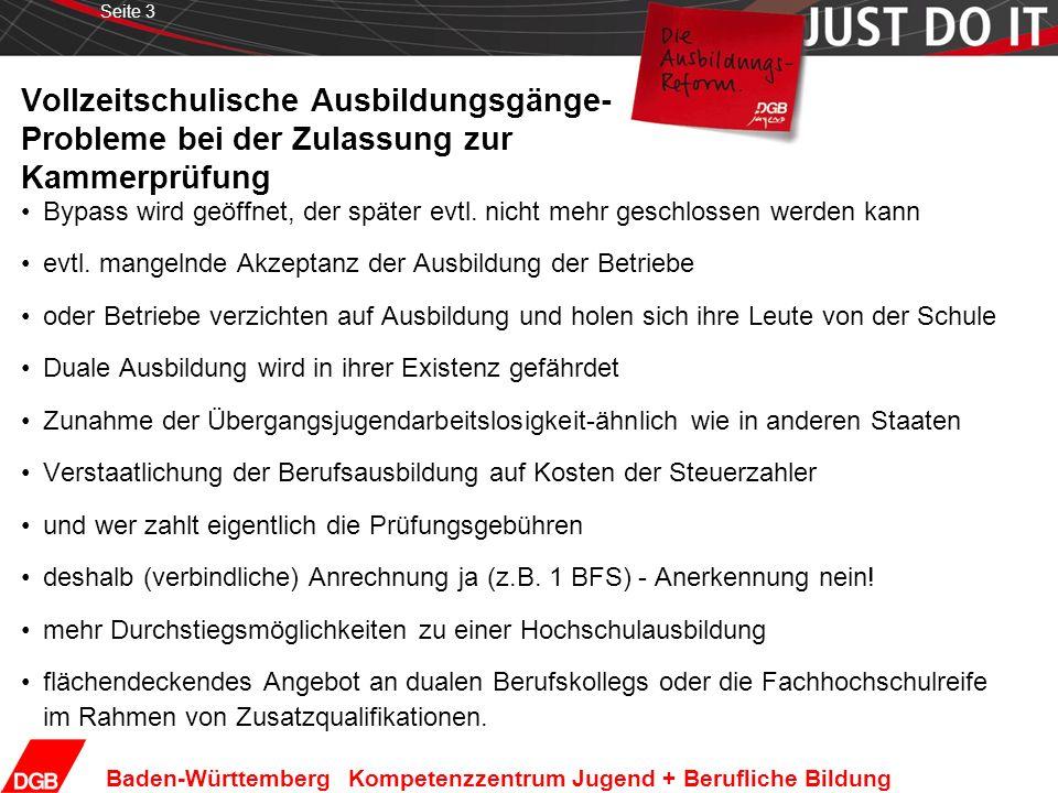 Seite 3 Baden-Württemberg Kompetenzzentrum Jugend + Berufliche Bildung Vollzeitschulische Ausbildungsgänge- Probleme bei der Zulassung zur Kammerprüfung Bypass wird geöffnet, der später evtl.