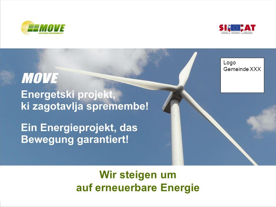 Wir steigen um auf erneuerbare Energie Logo Gemeinde XXX