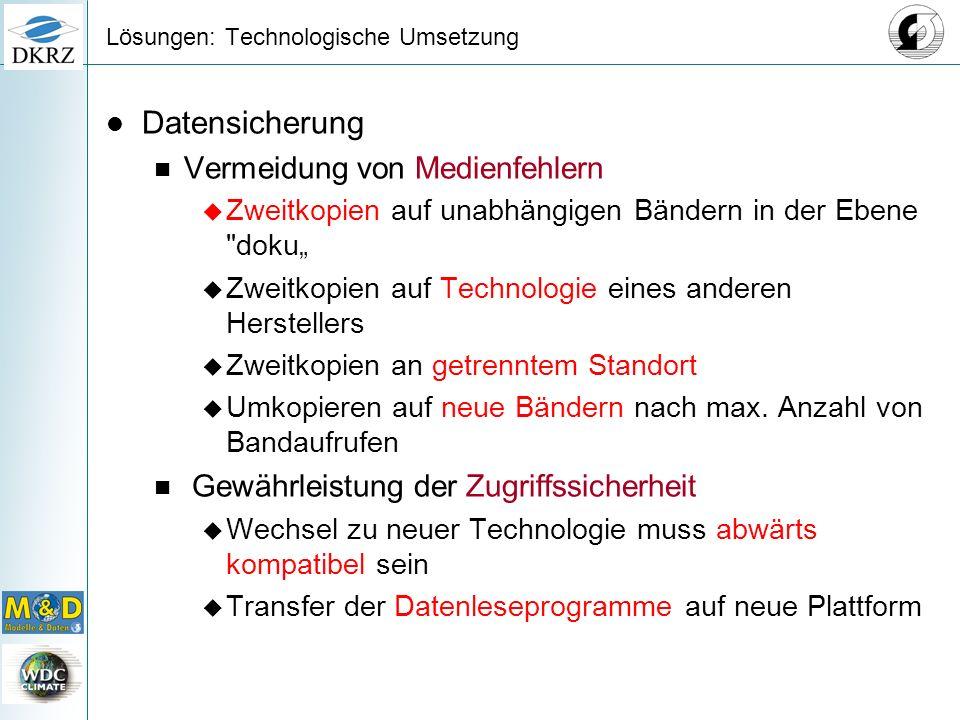 Lösungen: Technologische Umsetzung Datensicherung Vermeidung von Medienfehlern Zweitkopien auf unabhängigen Bändern in der Ebene