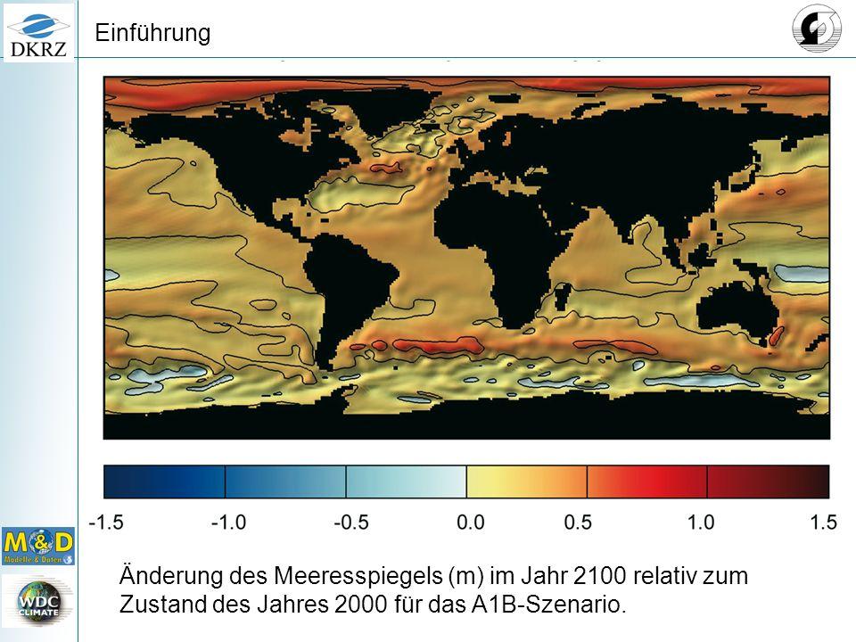 Änderung des Meeresspiegels (m) im Jahr 2100 relativ zum Zustand des Jahres 2000 für das A1B-Szenario.
