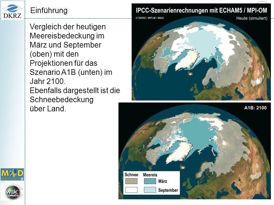 Vergleich der heutigen Meereisbedeckung im März und September (oben) mit den Projektionen für das Szenario A1B (unten) im Jahr 2100. Ebenfalls dargest