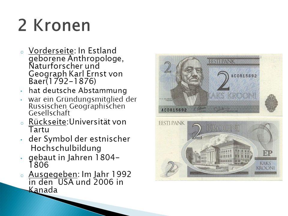 o Vorderseite: In Estland geborene Anthropologe, Naturforscher und Geograph Karl Ernst von Baer(1792-1876) hat deutsche Abstammung war ein Gründungsmi