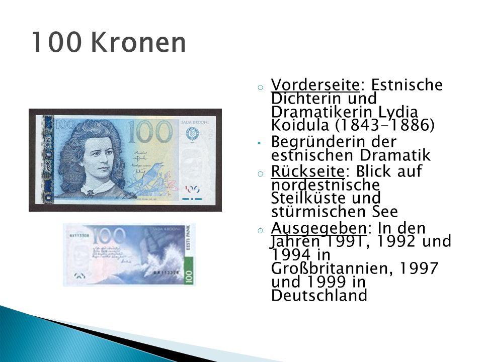 o Vorderseite: Estnischer Schriftsteller, Pädagoge und Publizist Carl Robert Jakobson (1841-1882) o Rückseite: Rauchschwalbe über der estnischen Landschaft.