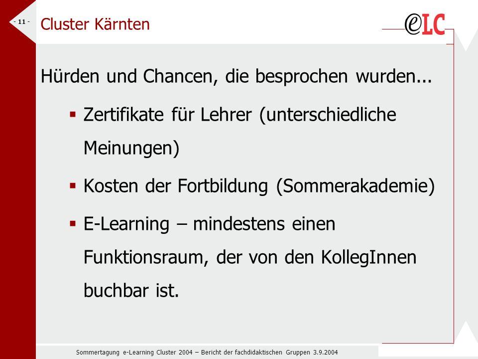 Sommertagung e-Learning Cluster 2004 – Bericht der fachdidaktischen Gruppen 3.9.2004 - 11 - Cluster Kärnten Hürden und Chancen, die besprochen wurden...