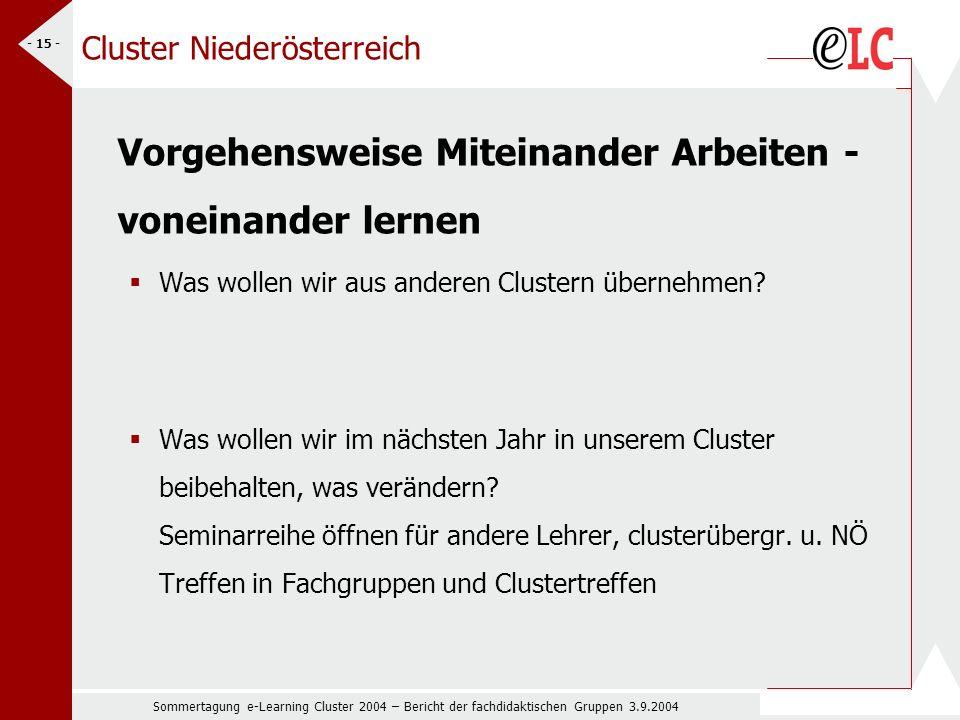 Sommertagung e-Learning Cluster 2004 – Bericht der fachdidaktischen Gruppen 3.9.2004 - 15 - Cluster Niederösterreich Vorgehensweise Miteinander Arbeiten - voneinander lernen Was wollen wir aus anderen Clustern übernehmen.