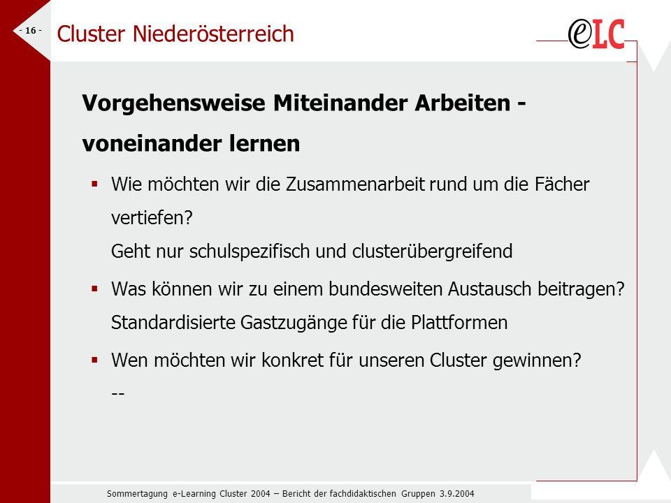 Sommertagung e-Learning Cluster 2004 – Bericht der fachdidaktischen Gruppen 3.9.2004 - 16 - Cluster Niederösterreich Vorgehensweise Miteinander Arbeiten - voneinander lernen Wie möchten wir die Zusammenarbeit rund um die Fächer vertiefen.